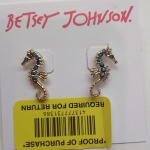 Betsey Johnson New Blue Seahorse Earrings